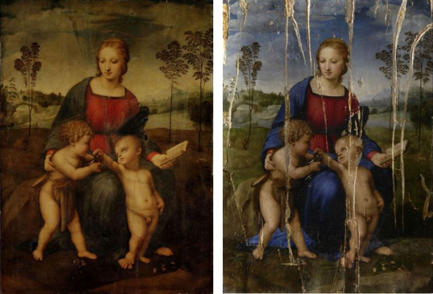 La Madonna del Cardellino prima del restauro e durante il restauro