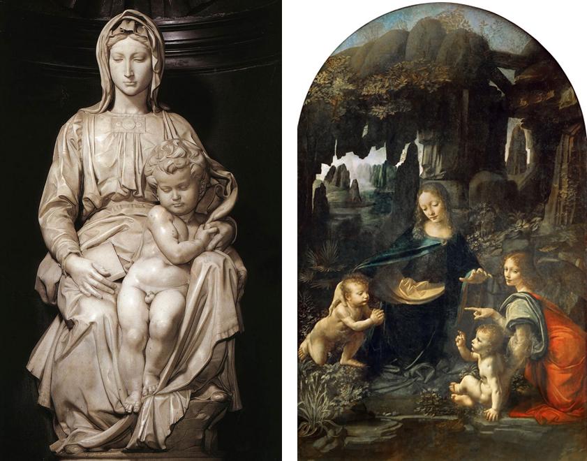A sinistra: Michelangelo, Madonna di Bruges. A destra: Leonardo da Vinci, Vergine delle rocce