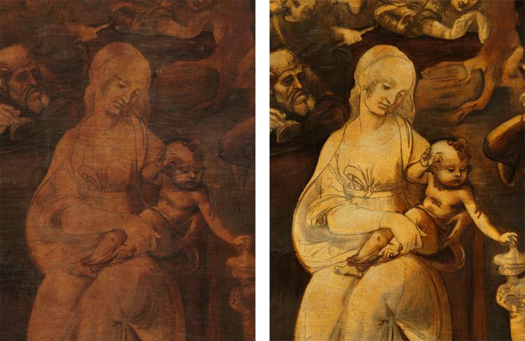 Dettaglio: la Madonna prima e dopo il restauro