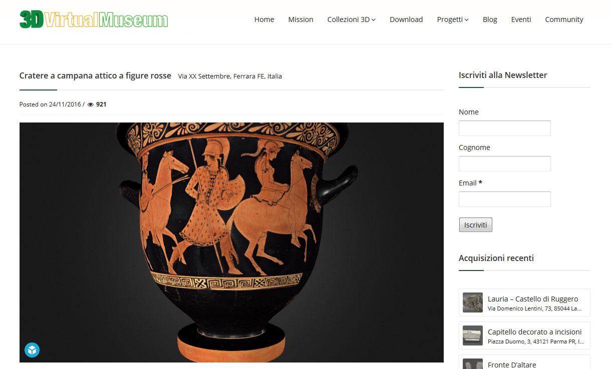 3D Virtual Museum è online: si possono vedere in 3D i reperti archeologici dei principali musei italiani