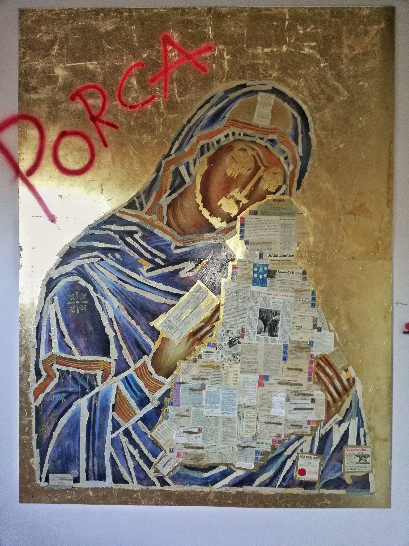 """Arcevia, la Madonna """"porca"""" dell'artista Alt è ritenuta blasfema e viene fatta rimuovere da mostra"""