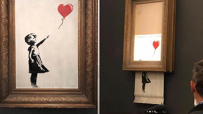 Sorprendente Banksy: una sua opera viene venduta in asta per 1 milione di euro e poi si autodistrugge