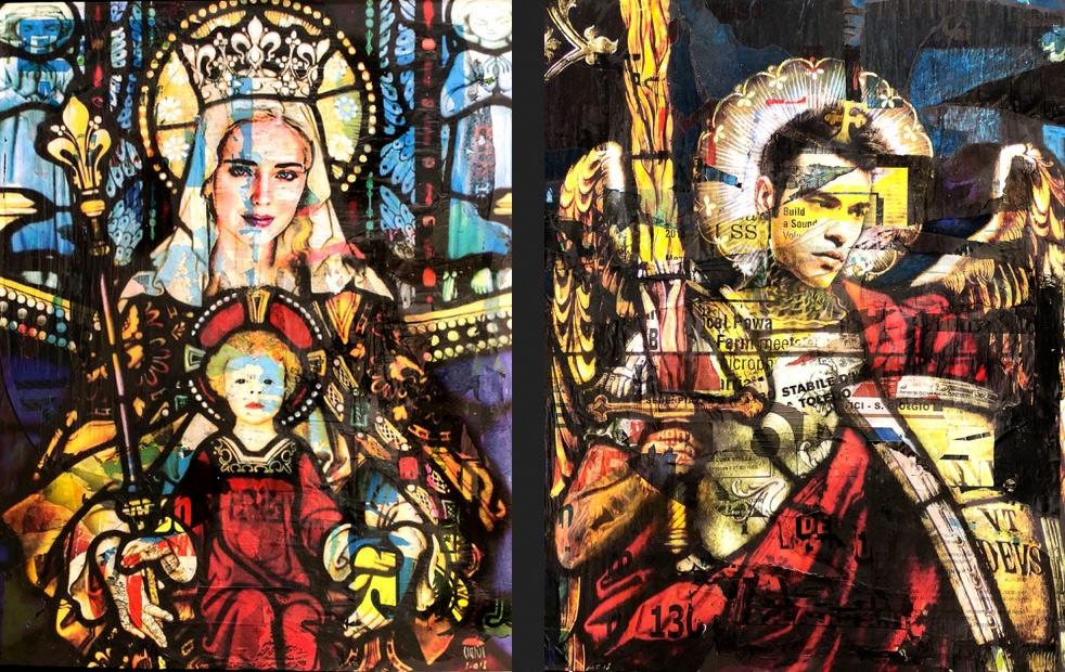 Chiara Ferragni e Fedez come san Michele e la Madonna: artista contemporaneo li... iconizza