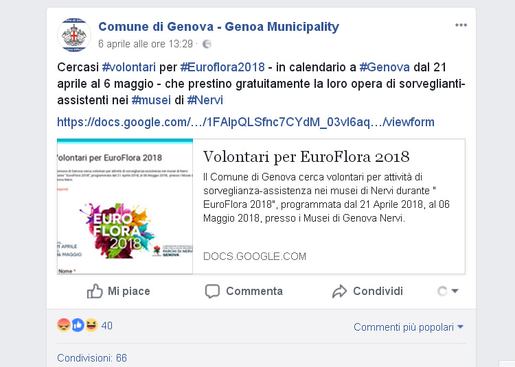 Il Comune di Genova cerca sorveglianti-assistenti per i musei di Nervi... che lavorino gratis
