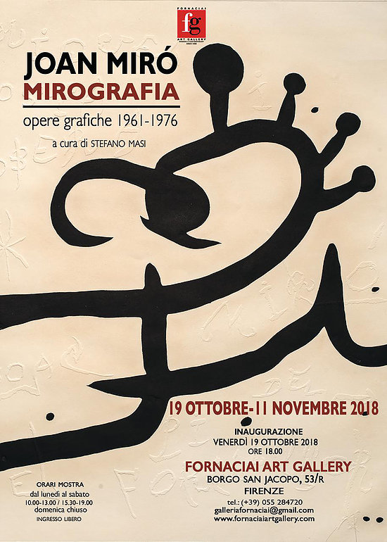 22 opere grafiche di Joan Miró in mostra alla Fornaciai Art Gallery di Firenze