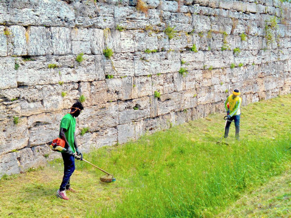 Paestum, gli immigrati del centro d'accoglienza contribuiscono alla manutenzione del Parco Archeologico