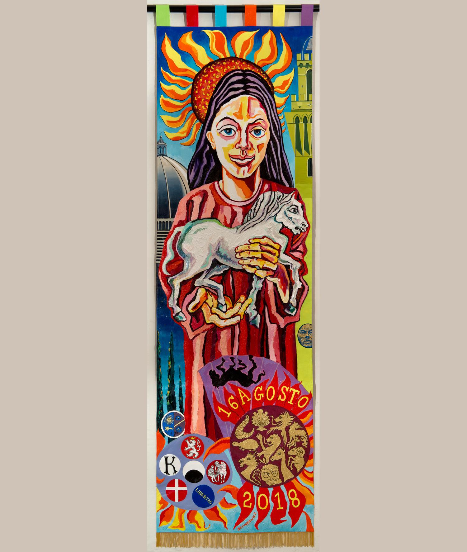 Siena, polemiche per il palio dipinto da Szymkowicz, ritenuto brutto e irrispettoso. L'arcivescovo si rifiuta di benedirlo