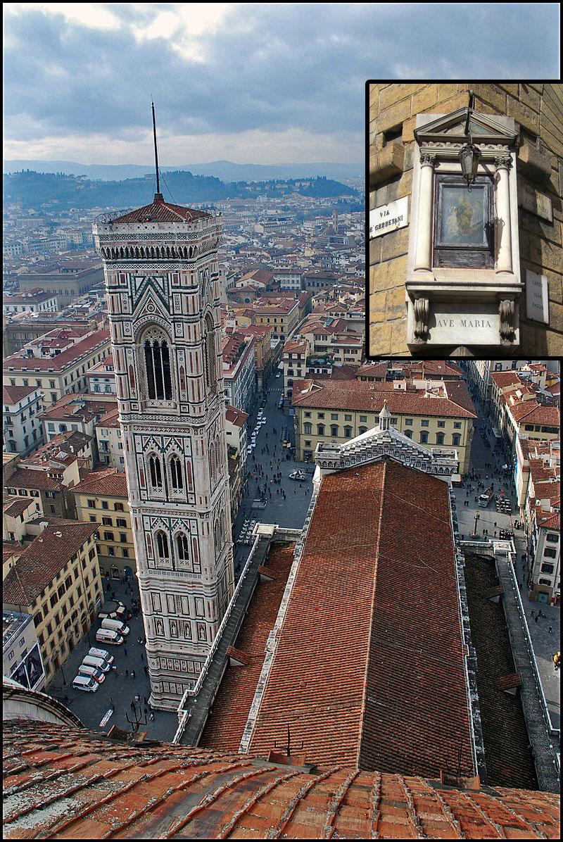 Crollata la parte inferiore del Tabernacolo del Canto alla Paglia a Firenze: un turista si è aggrappato alla struttura