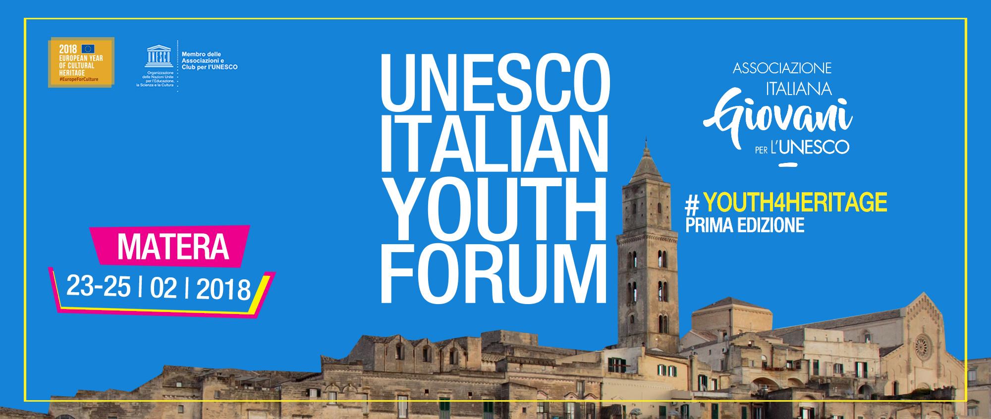 A Matera il primo forum dell'UNESCO per i giovani, dal 23 al 25 febbraio. Ecco come partecipare