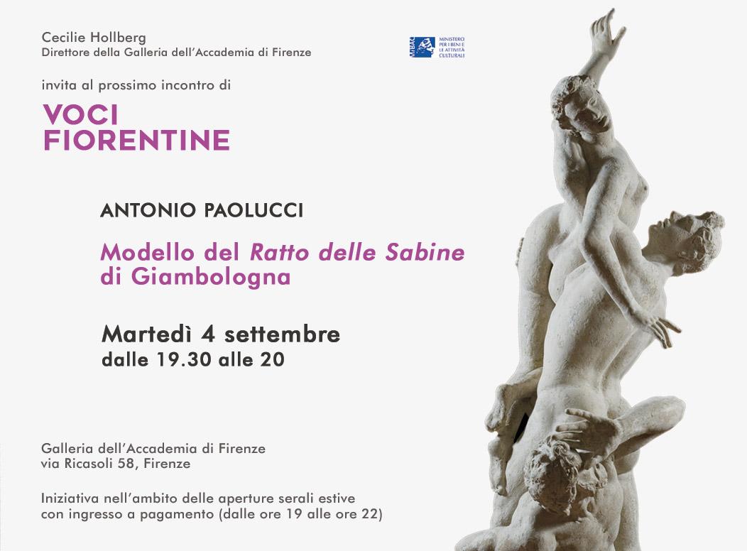 Firenze, martedì 4 settembre lectio di Antonio Paolucci sul Ratto delle Sabine del Giambologna