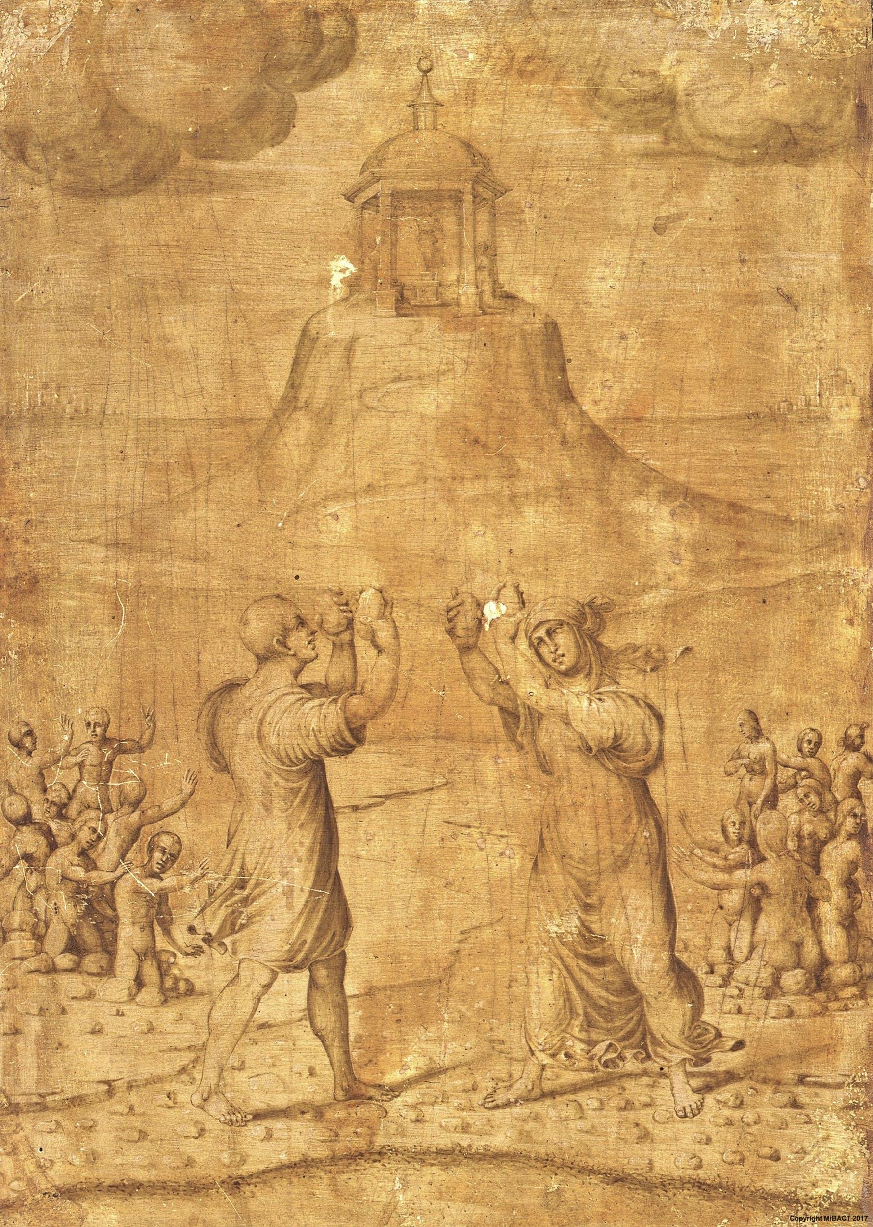 Maestro di Serumido (attribuito), Deucalione e Pirra ripopolano la terra, recto del ritratto di Maddalena Strozzi