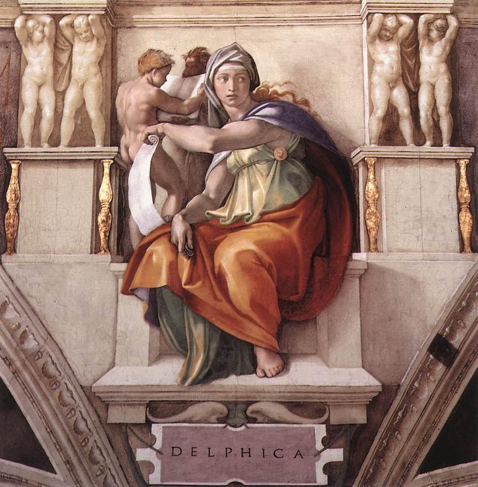 Michelangelo, Sibilla Delfica (1508-1510 circa; affresco; Città del Vaticano, Cappella Sistina, volta)