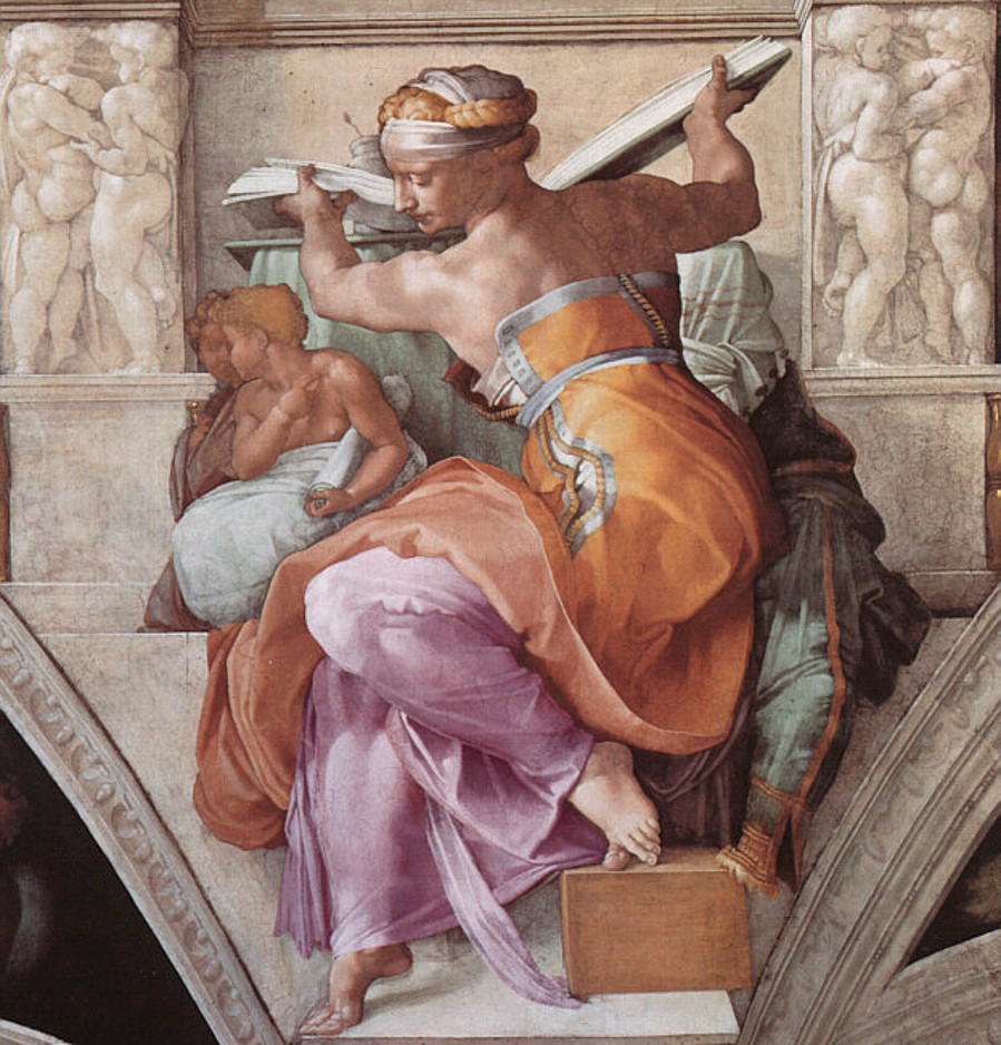 Michelangelo, Sibilla Libica (1508-1510 circa; affresco; Città del Vaticano, Cappella Sistina, volta)