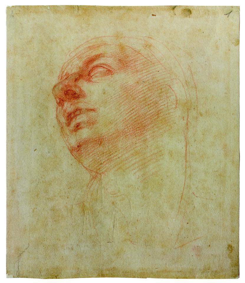 Michelangelo, Studio per la testa della Madonna del Tondo Doni (1506 circa; sanguigna su carta; Firenze, Casa Buonarroti)