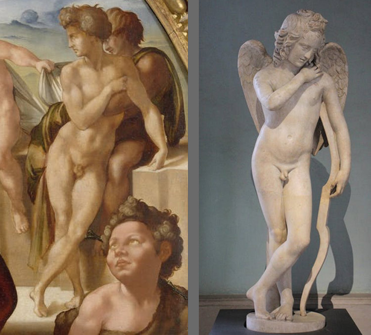 A sinistra: il quarto nudo del Tondo Doni. A destra: Arte romana, Amore con arco (metà del II secolo d.C.; marmo; Firenze, Galleria degli Uffizi)