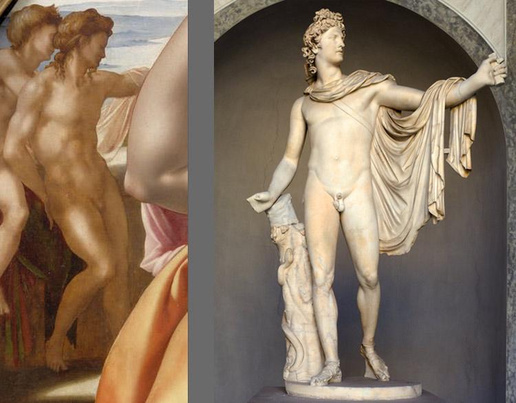 A sinistra: il secondo nudo del Tondo Doni. A destra: Arte romana, Apollo del Belvedere (350 a.C. circa; marmo bianco, altezza 224 cm; Città del Vaticano, Musei Vaticani)