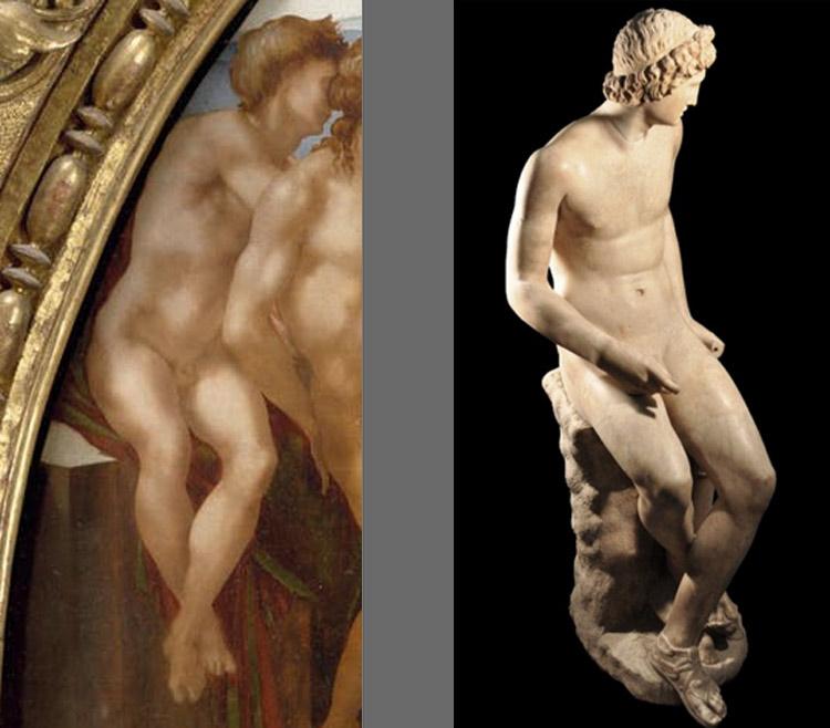 A sinistra: il primo nudo del Tondo Doni. A destra: Arte romana, Apollo seduto (I secolo d.C.; marmo; Firenze, Galleria degli Uffizi)