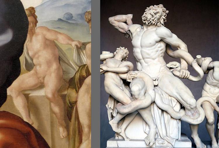 A sinistra: il terzo nudo del Tondo Doni. A destra: Arte romana, Laocoonte (I secolo a.C. - I secolo d.C.; marmo bianco, altezza 242 cm; Città del Vaticano, Musei Vaticani)
