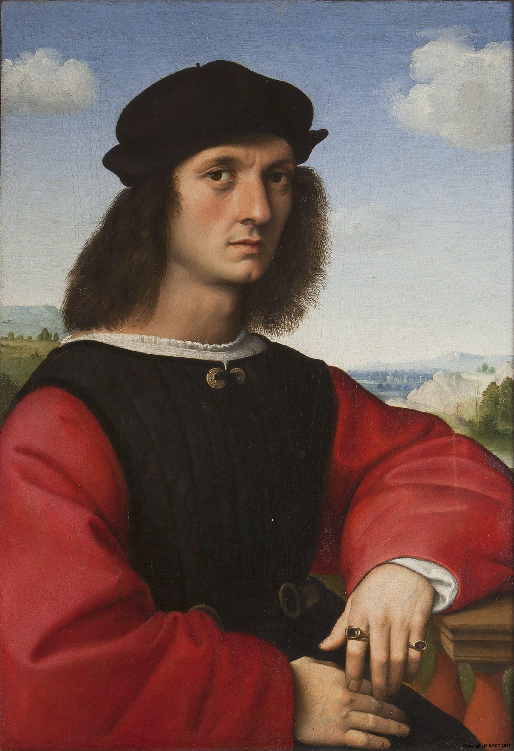 Raffaello, Ritratto di Agnolo Doni (1506 circa; olio su tavola, 65 x 45 cm; Firenze, Galleria degli Uffizi)