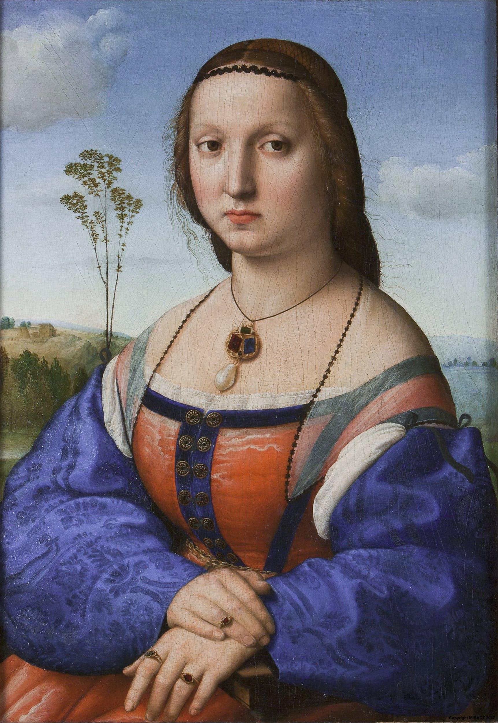 Raffaello, Ritratto di Maddalena Strozzi (1506 circa; olio su tavola, 63 x 45 cm; Firenze, Galleria degli Uffizi)