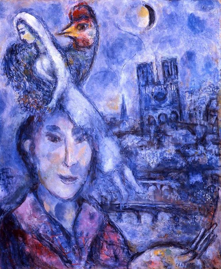 Gli Uffizi volano con il cuore a Parigi. Esposto all'ingresso di Palazzo Pitti l'Autoritratto di Chagall con Notre Dame sullo sfondo