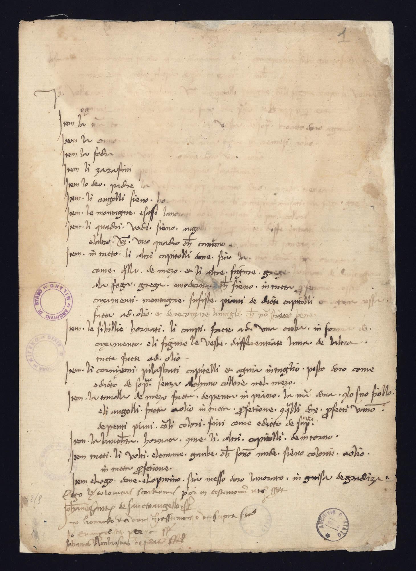 "Sarà sottoposta a restauro ""digitale"" l'unica firma conosciuta di Leonardo da Vinci"