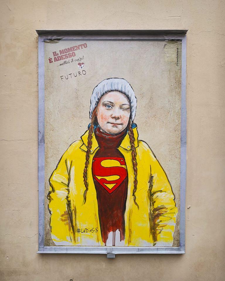 Firenze, rubata l'immagine di Greta Thunberg realizzata dallo street artist Lediesis per campagna di beneficenza