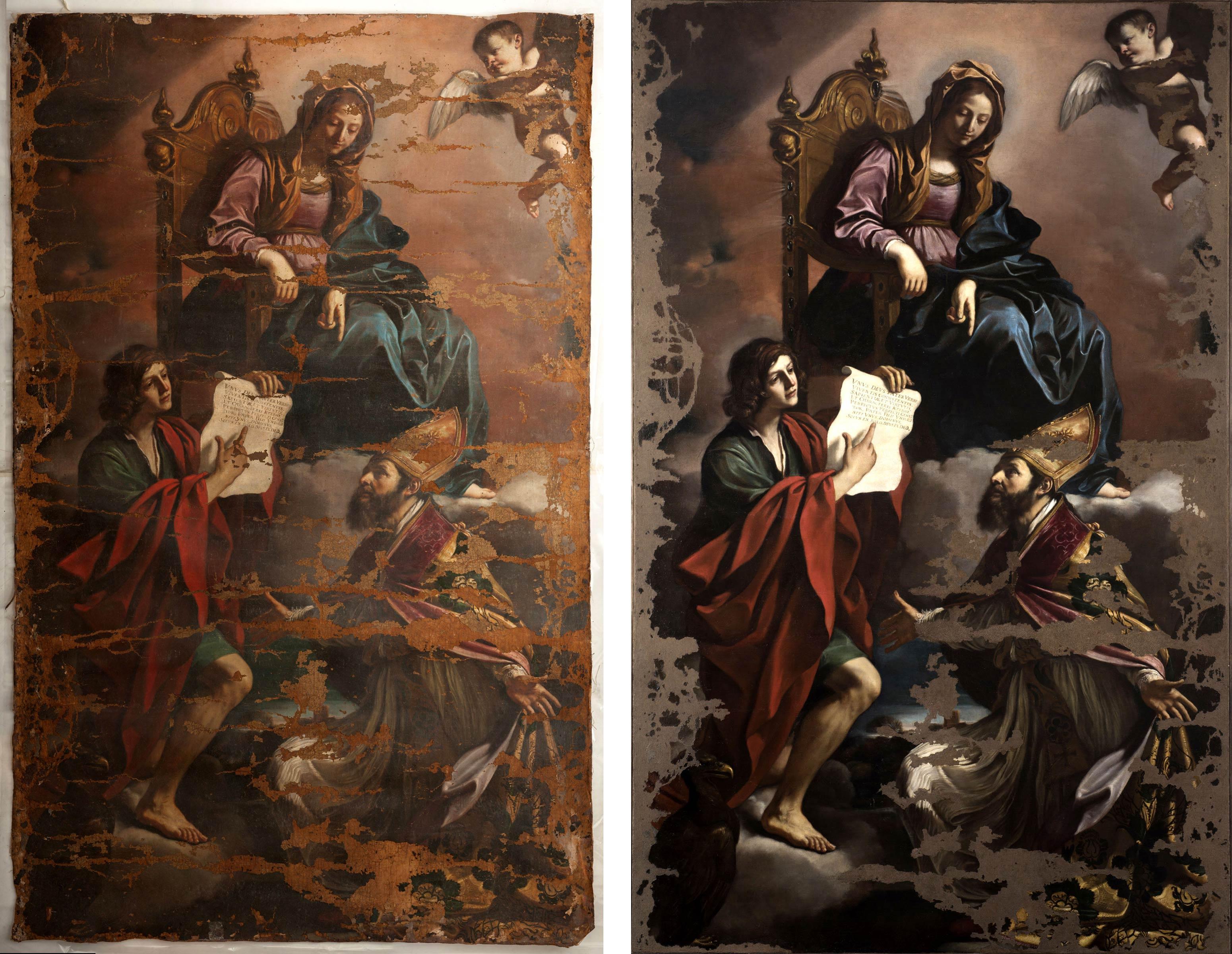 """Restauro del Guercino prima e dopo, è scontro. Ficacci: """"no al com'era dov'era"""". Gattari: """"lavoro incompleto"""""""