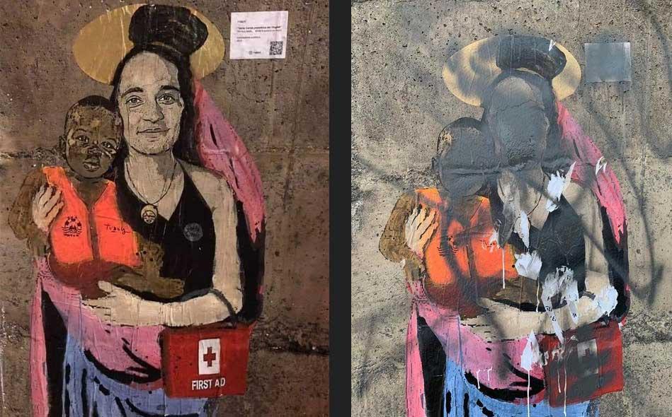 """Taormina, leghisti cancellano murale di TvBoy raffigurante Carola Rackete: """"prima gli italiani"""""""