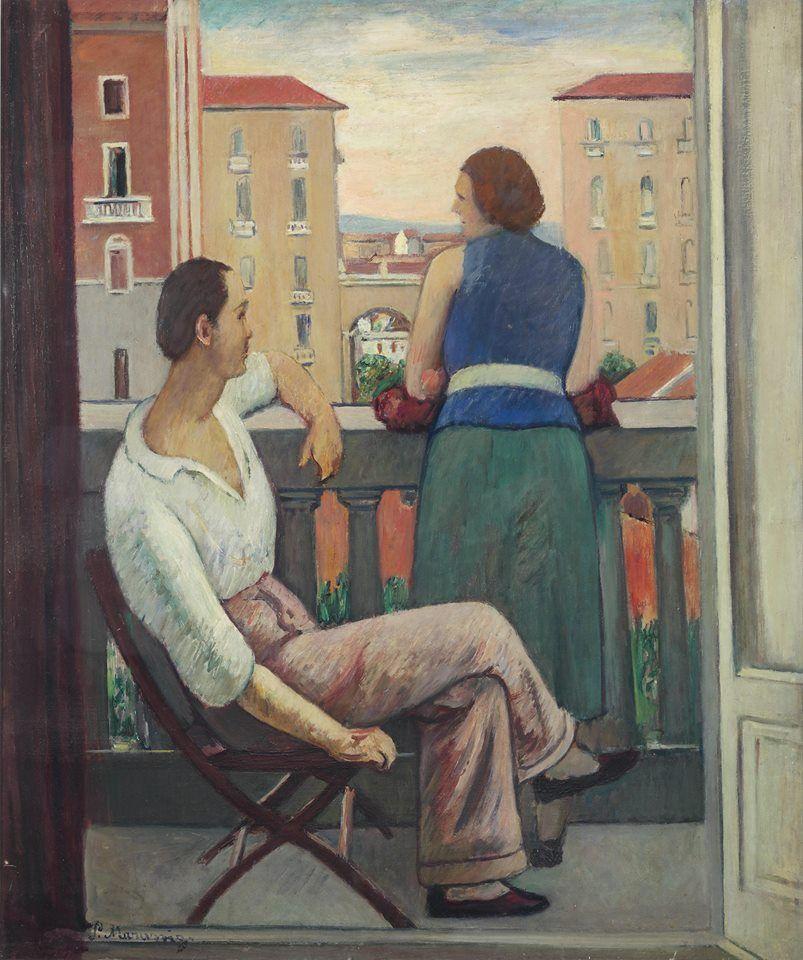 Piero Marussig, Figure al balcone (1920; olio su tela, 90 x 75 cm; collezione privata)