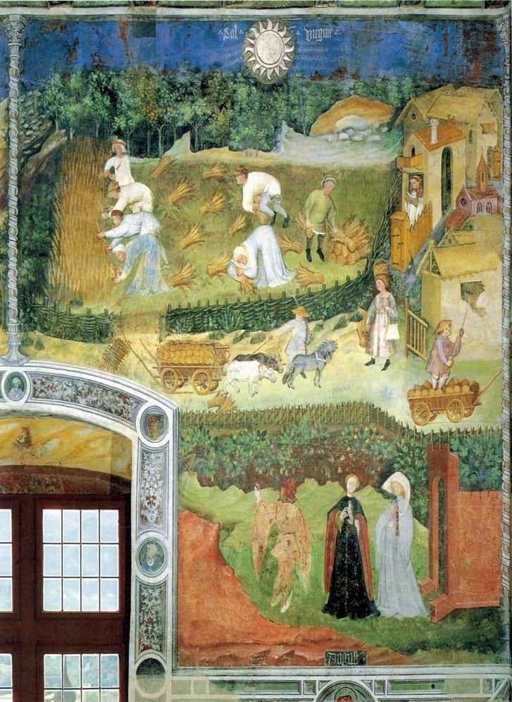 Magister Venceslao, Mese di agosto (1391-1407; affresco; Trento, Castello del Buonconsiglio, Torre Aquila)