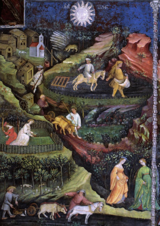 Magister Venceslao, Mese di aprile (1391-1407; affresco; Trento, Castello del Buonconsiglio, Torre Aquila)