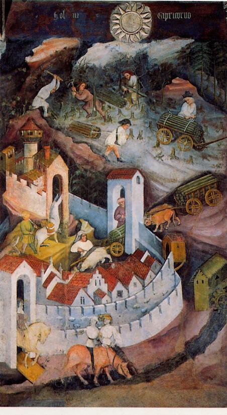 Magister Venceslao, Mese di dicembre (1391-1407; affresco; Trento, Castello del Buonconsiglio, Torre Aquila)