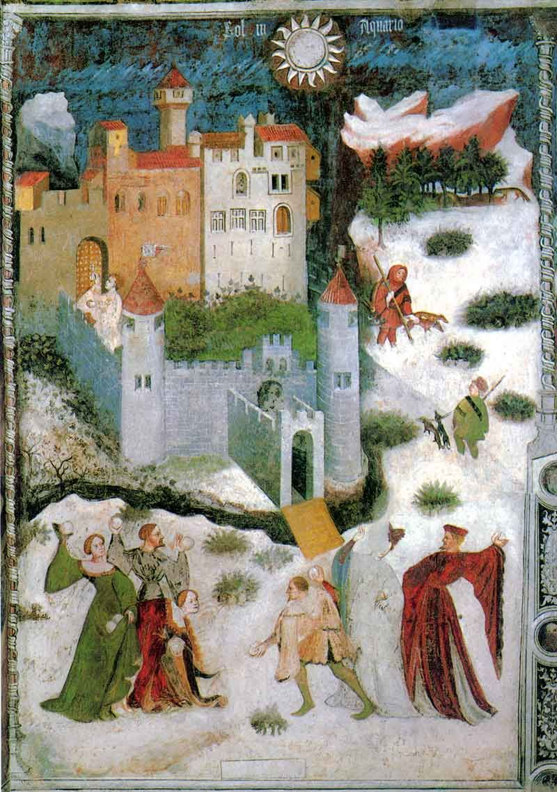 Magister Venceslao, Mese di gennaio (1391-1407; affresco; Trento, Castello del Buonconsiglio, Torre Aquila)