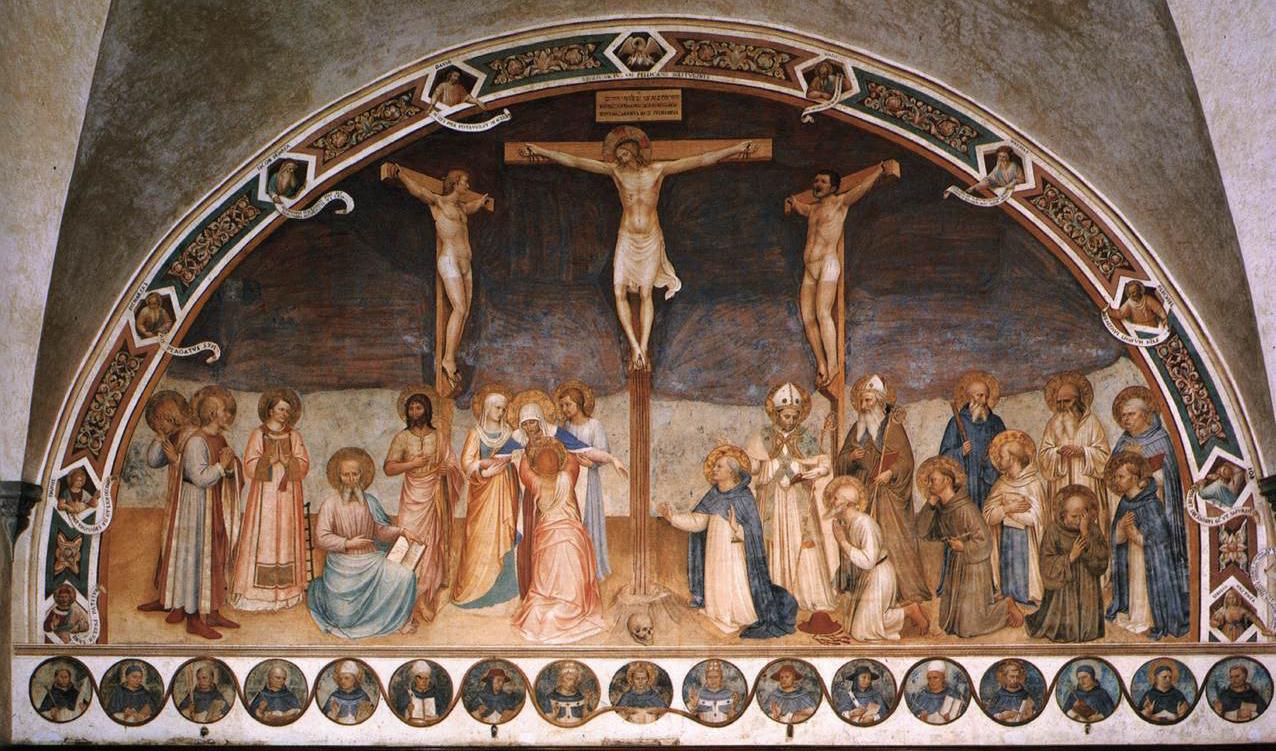 Beato Angelico, Crocifissione con santi (1441-1442; affresco, 550 x 950 cm; Firenze, Museo Nazionale di San Marco)