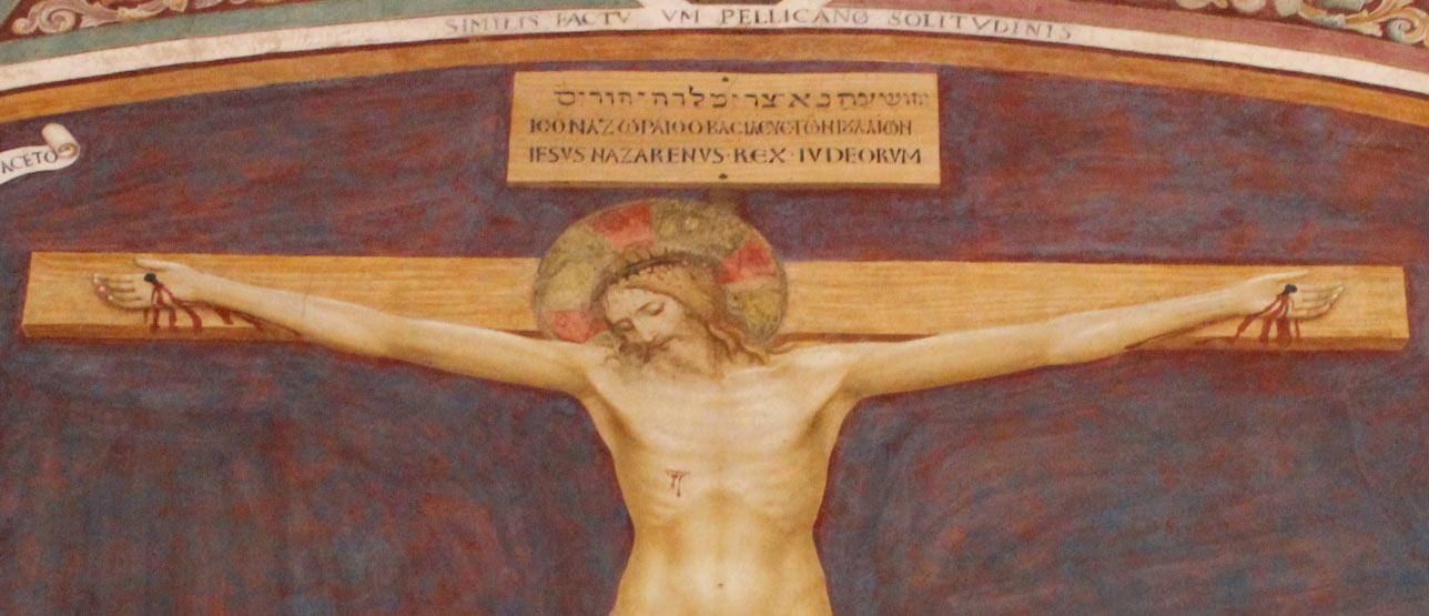 Il Titulus Crucis nella Crocifissione con santi del Beato Angelico