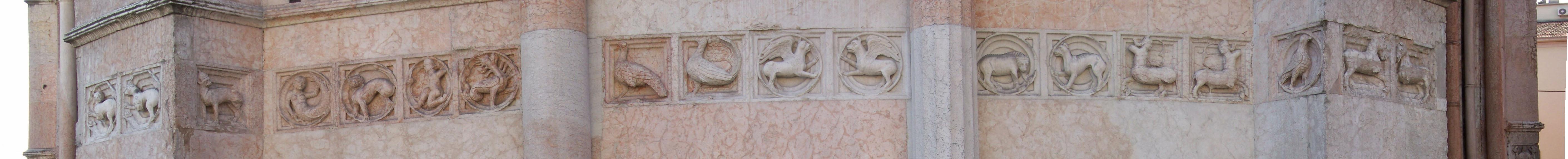 Le formelle del lato sud-ovest (dalla lepre al cavallo)