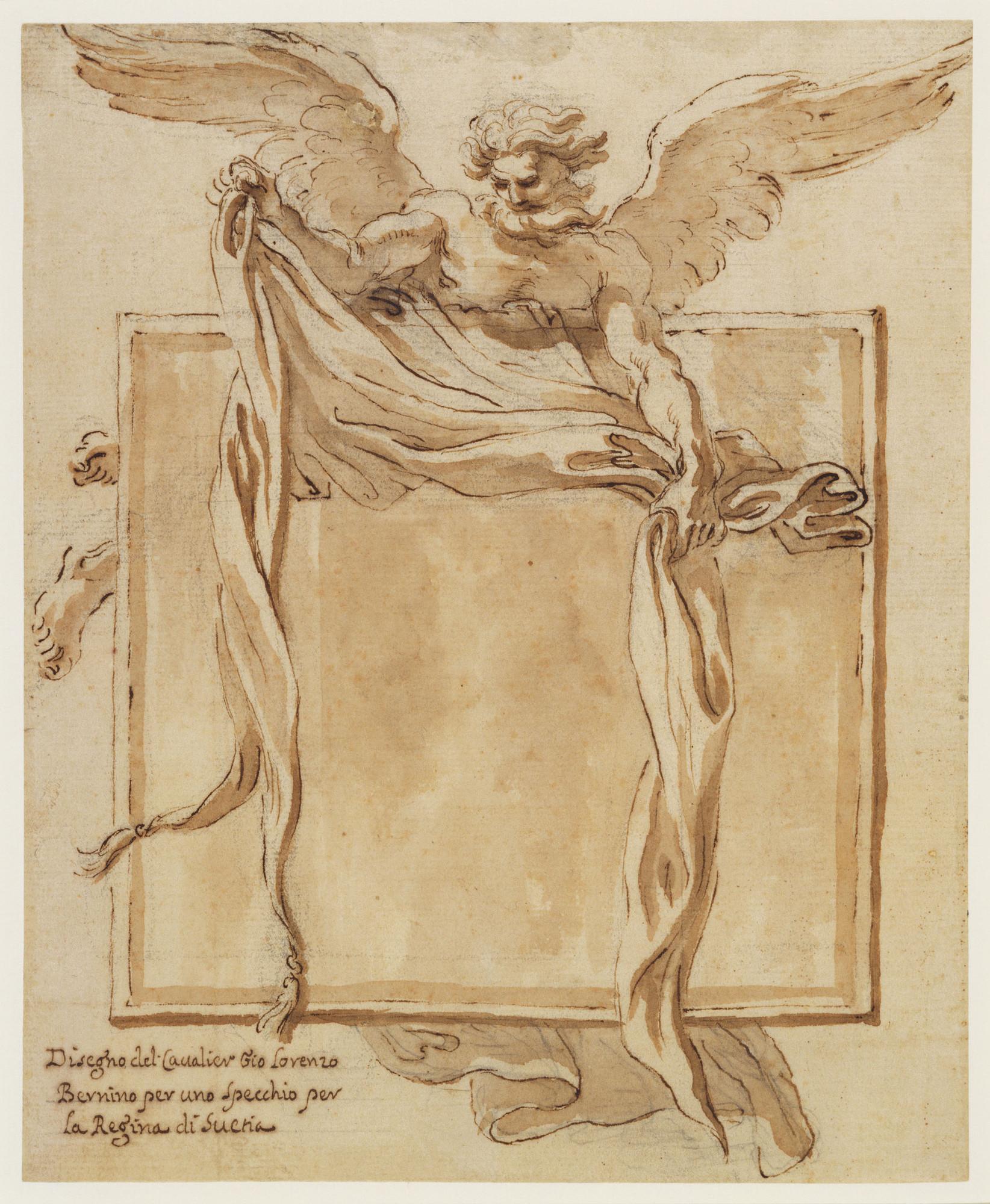 Gian Lorenzo Bernini, Disegno per lo specchio di Cristina di Svezia (1656 circa; penna, acquerello e gessetto su carta, 230 x 188 mm; Windsor, Royal Collection)