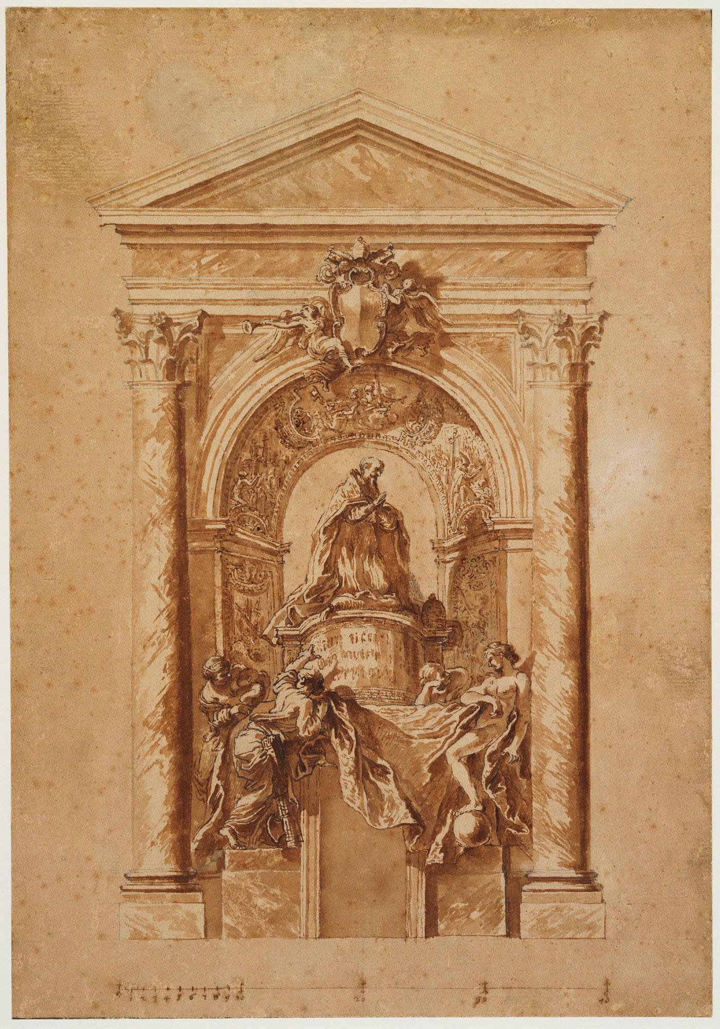 Gian Lorenzo Bernini, Studio per la Tomba di Alessandro VII (1662-1666 circa; penna, acquerello e gessetto su carta, 440 x 307 mm; Windsor, Royal Collection)