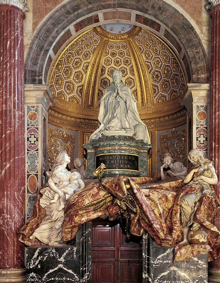 Gian Lorenzo Bernini, Tomba di Alessandro VII (1672-1678; marmo; Città del Vaticano, San Pietro)