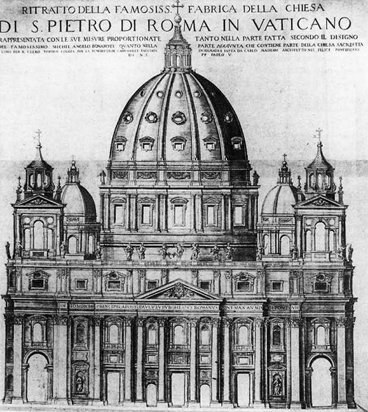 Matthaeus Greuter, La facciata con campanili del progetto definitivo di Maderno per il prolungamento di San Pietro (1613)