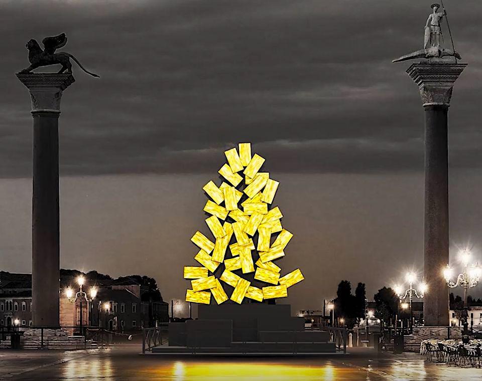 Un gigantesco mosaico dorato: ecco come sarà l'albero di Natale di Piazza San Marco
