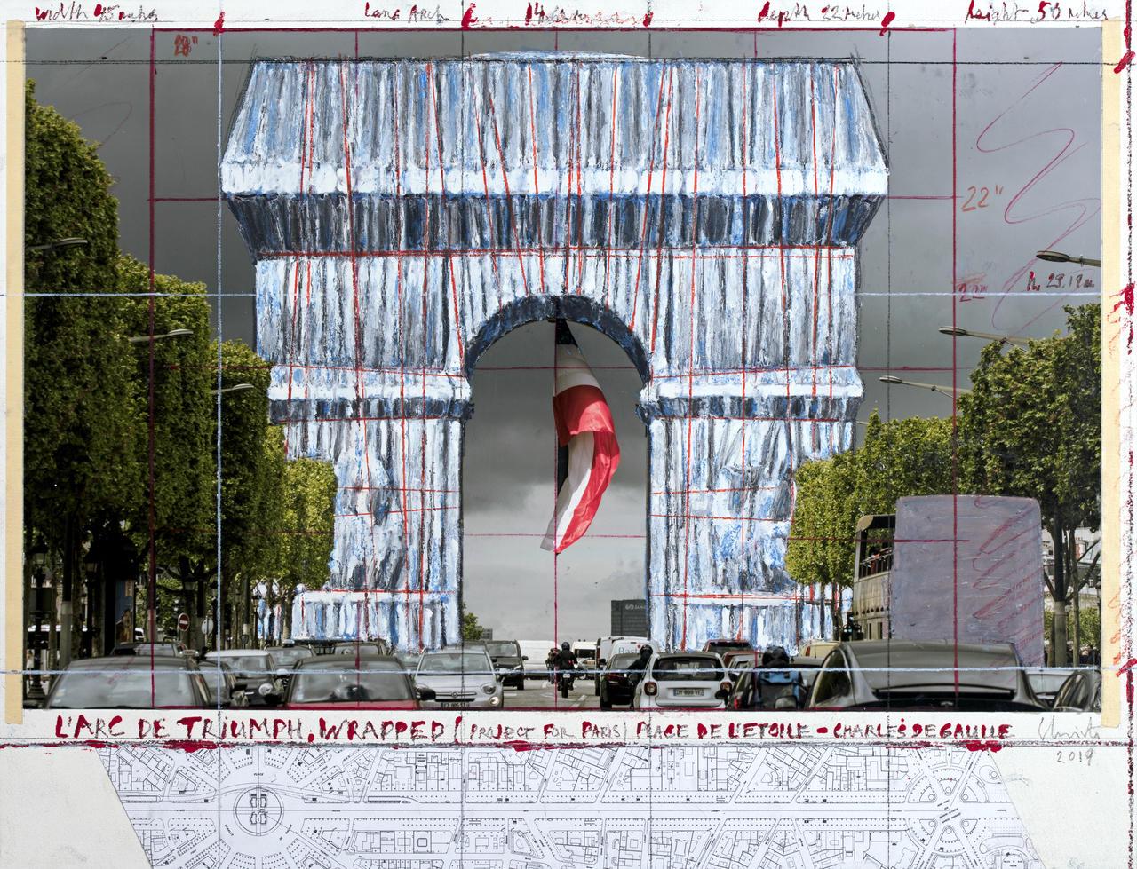 Slitta al 2021 l'impacchettamento dell'Arco di Trionfo, il nuovo progetto di Christo