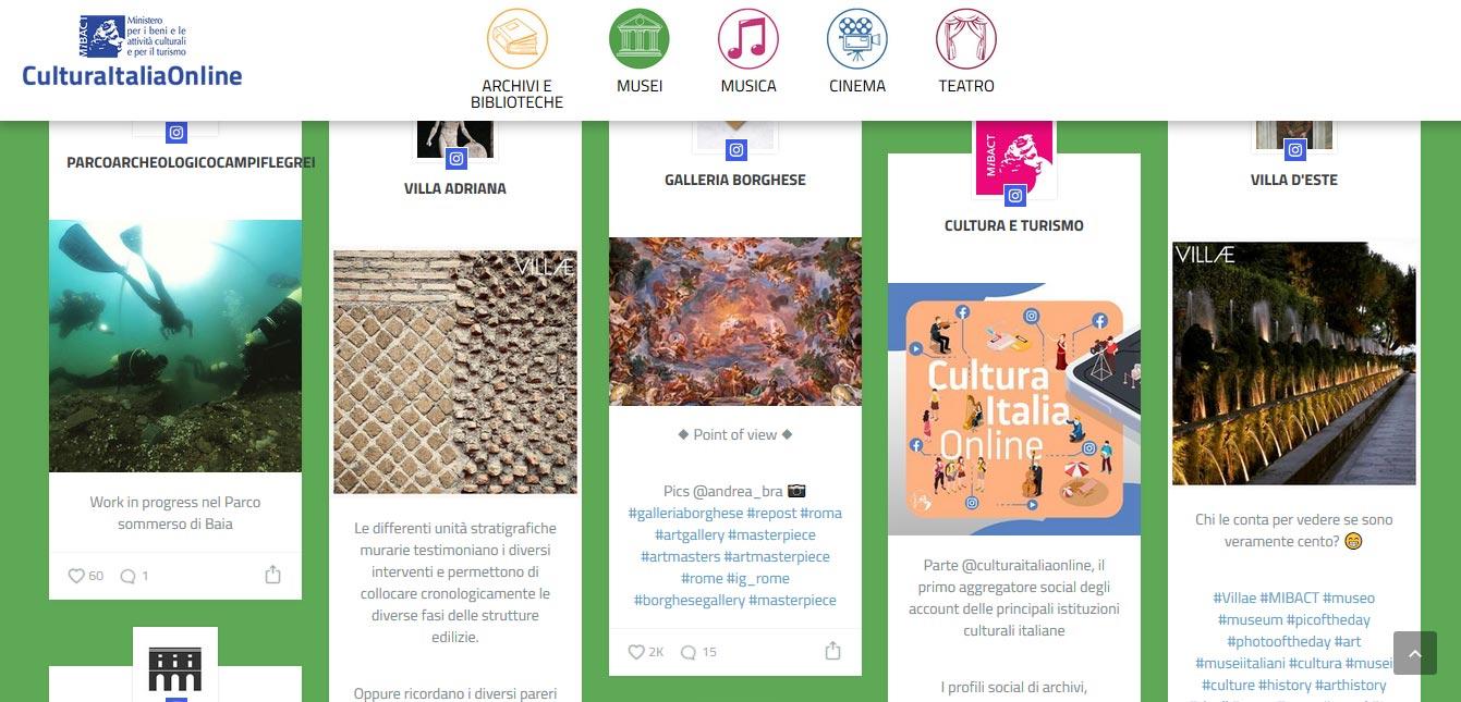 Tutti gli account social degi musei italiani sono stati aggregati in un unico sito