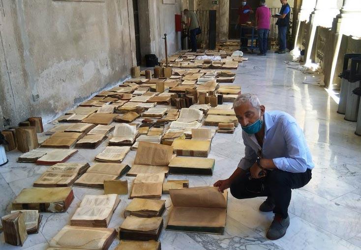 Nubifragio a Palermo, ingenti danni ai libri della Biblioteca Centrale della Sicilia