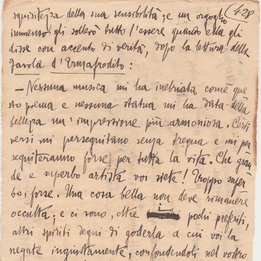 """Ritrovate 74 pagine manoscritte inedite de """"Il Piacere"""" di Gabriele d'Annunzio"""