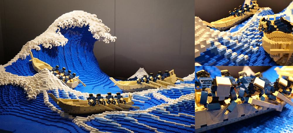 Giappone, la Grande Onda di Hokusai diventa una grande scultura in mattoncini Lego
