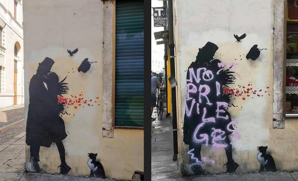 Padova, imbrattato il murale degli innamorati, con una scritta anti-Banksy