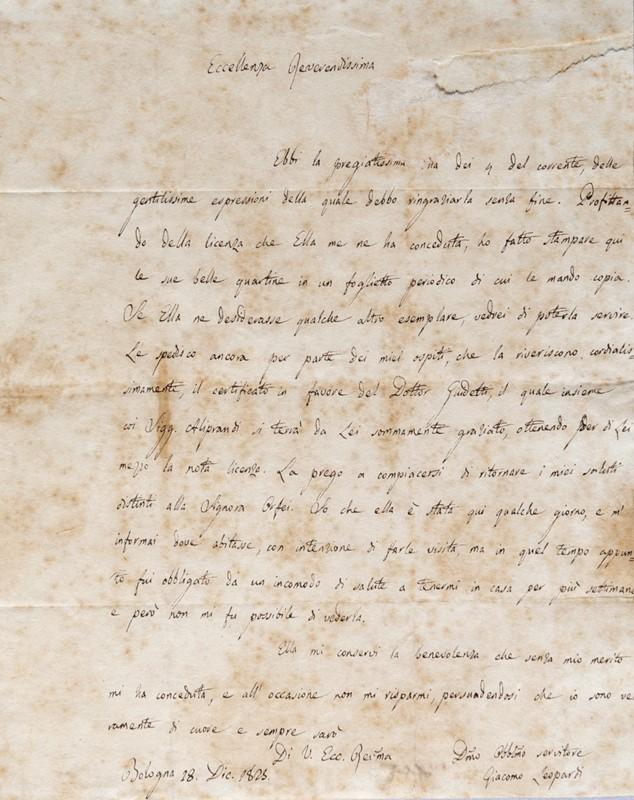 La Biblioteca Nazionale di Napoli acquisisce un'importante lettera autografa di Leopardi