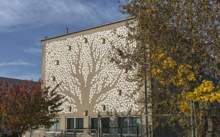 Polonia, murale offre riparo dal freddo agli uccellini